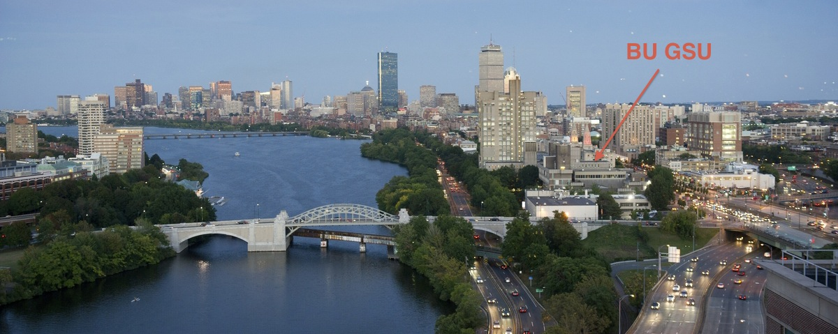 The Charles River with the campus of Boston University (right, GSU is the conference venue), Cambridge (left), and downtown Boston (back)